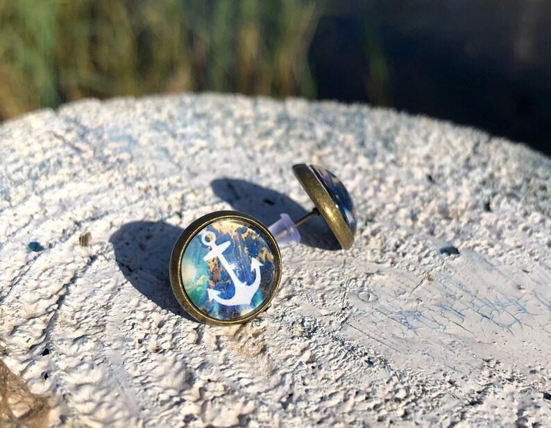 customizable anchor blue green Ankor earrings anchor stud earrings