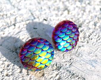 Surgeon's steel earrings with scales, mermaid, mermaid earrings, mermaid jewelry, stainless steel earrings, allergy-friendly