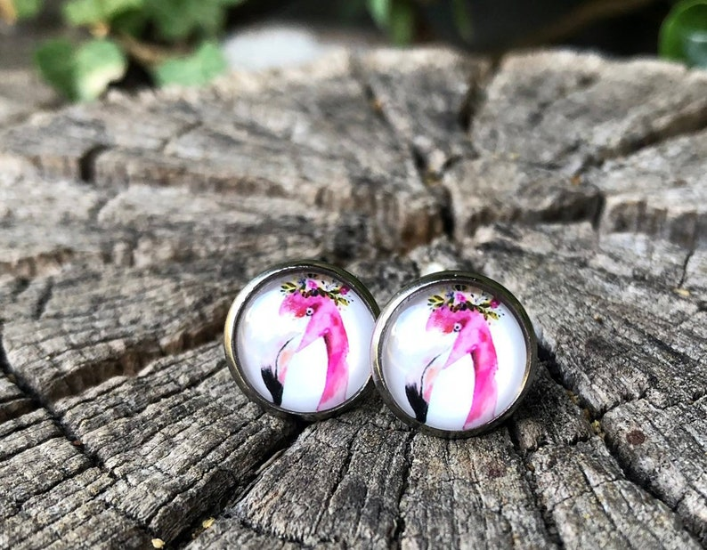 Stainless steel earrings with flamingo Flaingoohrringe image 0