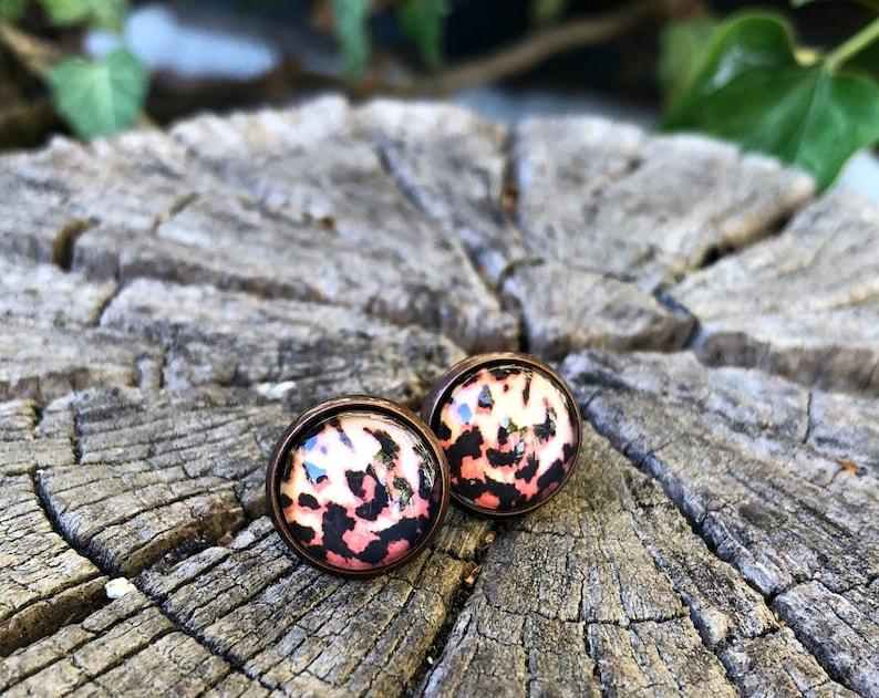 Leoprint earrings leopard stud earrings leopard print image 0