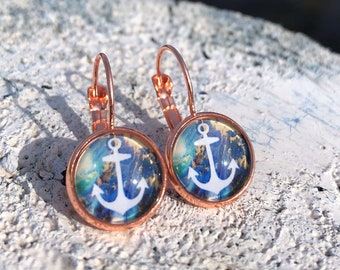 anchor earrings, rosegold anchor earwires, anchor jewelry