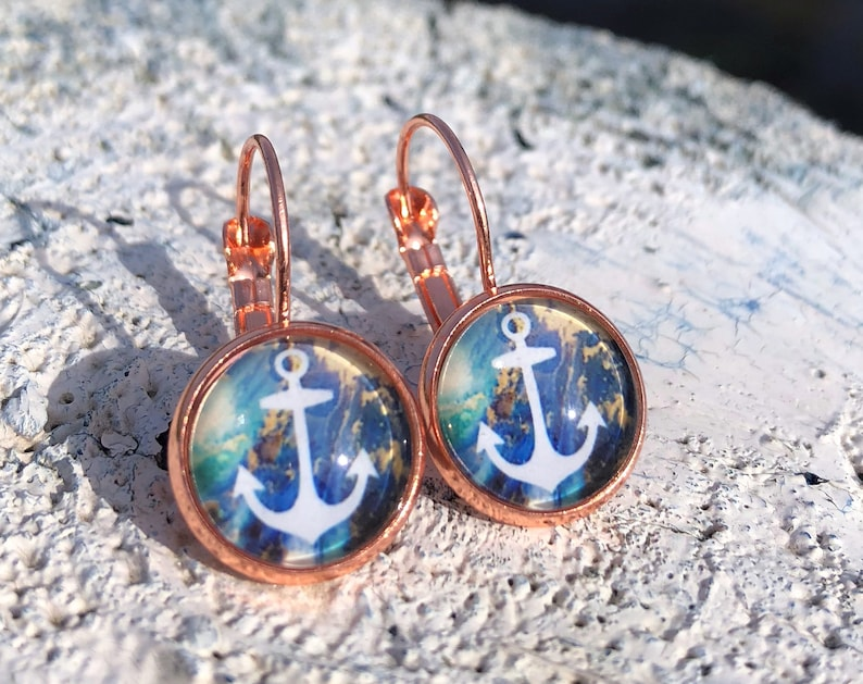 anchor earrings rosegold anchor earwires anchor jewelry image 0