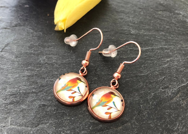 Vintage earrings in rose gold with bird vintageprint image 0