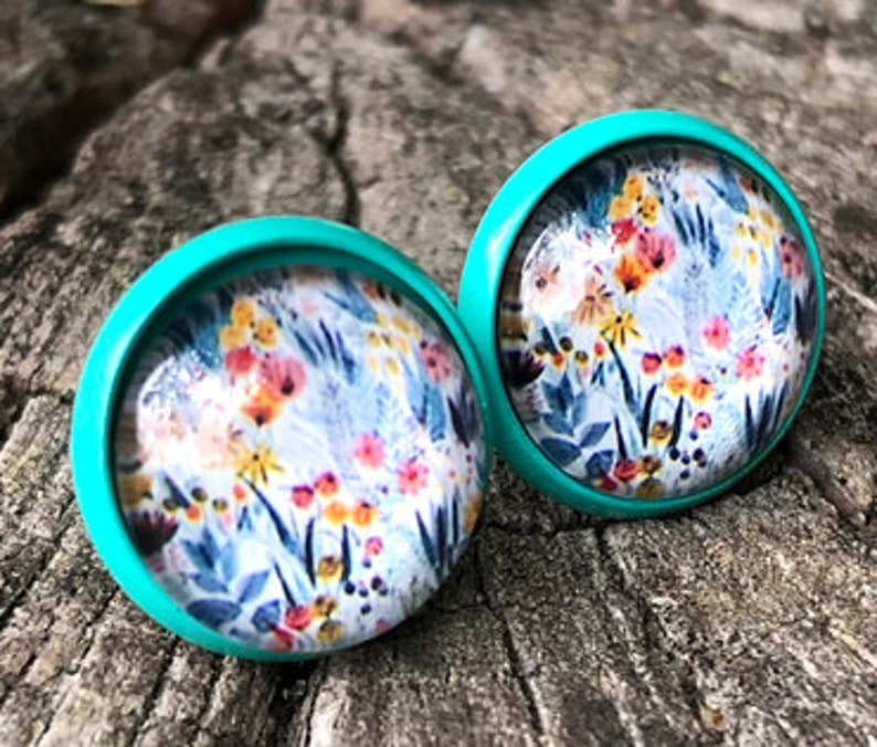 Turquoise earrings with field flowers late summer flower image 0