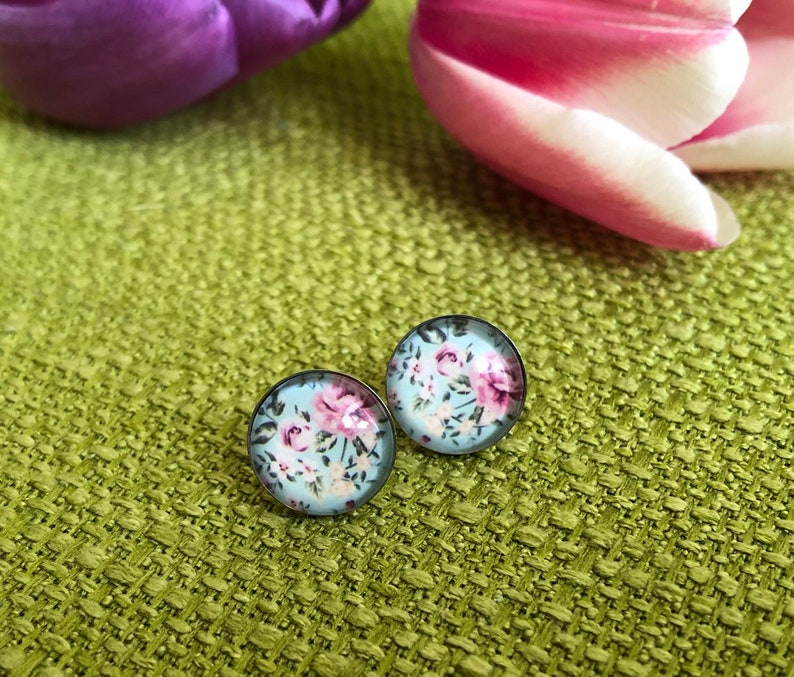 Edelstaster earrings Vintage Rose pastel earrings floral image 0