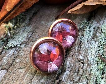 small autumn earrings in rose gold, autumn stud earrings, leaf clover, 10 mm