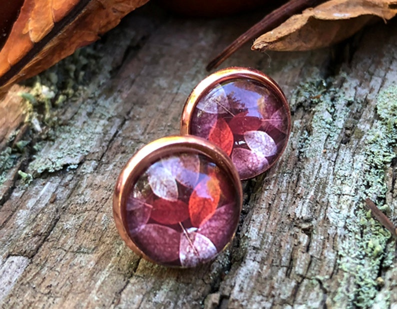 Autumn earrings in roségold stud earrings autumn leaf clover image 0