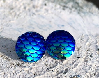 Earrings mermaid in Changierendem blue, earrings with scales, 3d earrings, iridescent earrings, suited for people with allergies, surgical steel