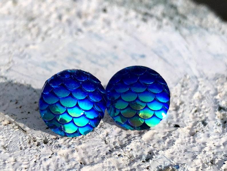 Earrings mermaid in Changierendem blue earrings with scales image 0