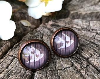 Swallow earrings, stud earrings swallow, copper, customizable