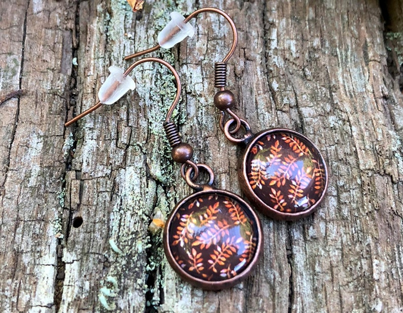 Herbstohr pendant Autumn earrings copper colors Blattklee image 0