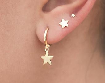 bf08d4ba4 Star hoop earrings, Star Earrings, Silver star hoops, Huggie hoop earrings, Charm  earrings, Silver earrings, Earrings for women