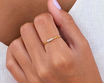 Dainty & Tiny Baguette Round CZ Ring