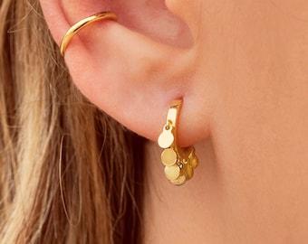 Huggie hoop earrings with coin charms