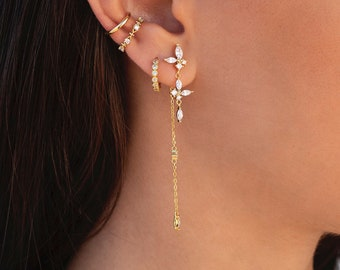 Dainty Marquise & Round CZ Long Chain Ear Jacket Earrings