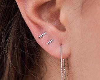 5d938c4fa Bar stud earrings, Stick stud earrings, Small earrings, Tiny earrings, Mini  earrings, Second hole earrings, Piercing earrings, Silver studs