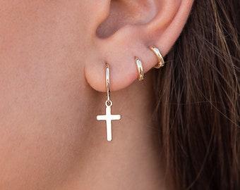 Gold cross earrings,Cross earrings women,cross earrings black,dangling cross earrings,religious earrings,earrings with black tassels,tassels
