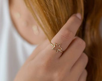 Star ring, Cut out star ring, Silver rings, Dainty rings, Minimalist jewelry, Dainty Jewelry, Star shaped ring, Trendy Jewelry