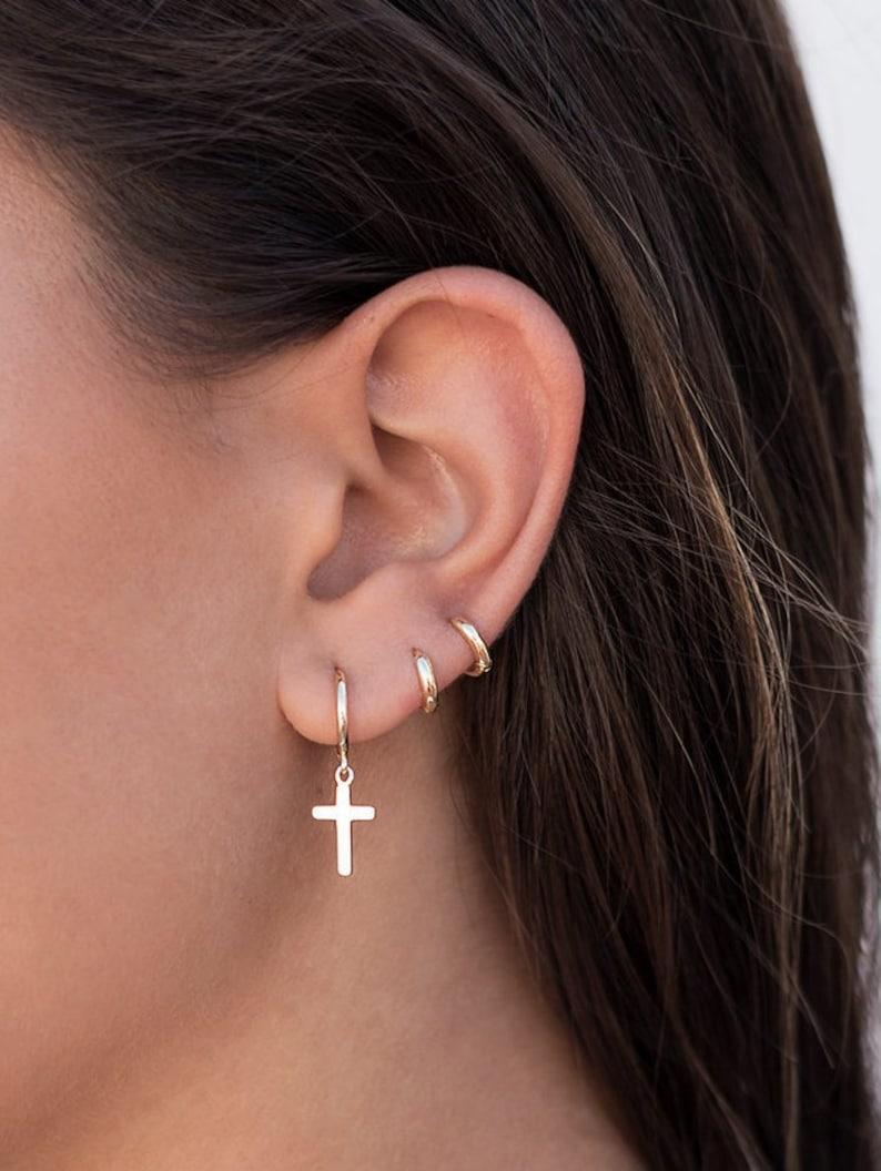 Minimalist /& Tiny Second Hole Helix Silver Hoop Earrings