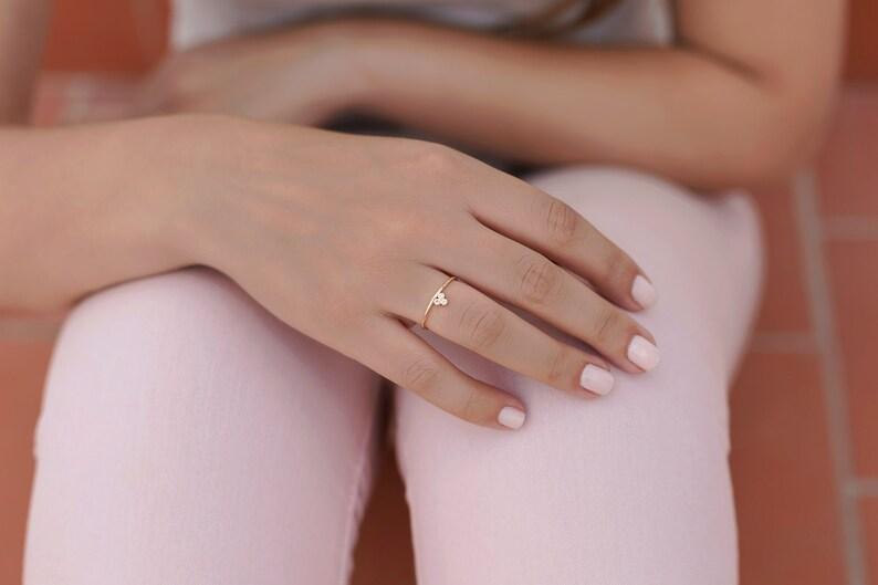 Modern Rings Minimalist Ring Zirconia Clover Ring Silver Rings Ring Balls of Zirconia Fine Ring with Zirconiites