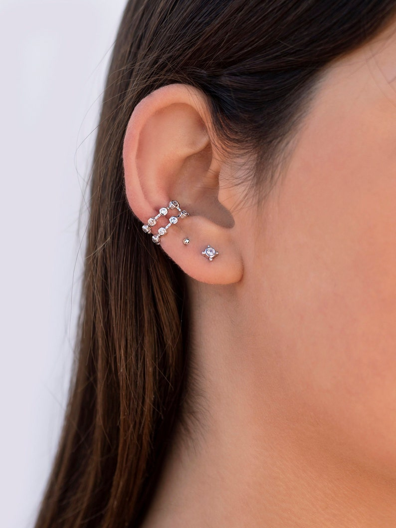 Earrings Conch Ear Cuff dual band with stones
