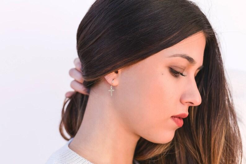 Silver hoop earrings Cross earrings Hoop with cross Charm hoop earrings Tiny hoop earrings Cross huggie hoops Cross hoop earrings
