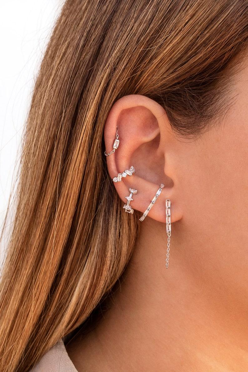Minimalist Baguette Cz Ear Lobe Cuff Stud Earrings