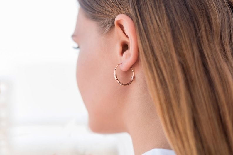ddd6a1cd0b9 Original silver earrings Smooth silver hoops 22 mm diameter | Etsy