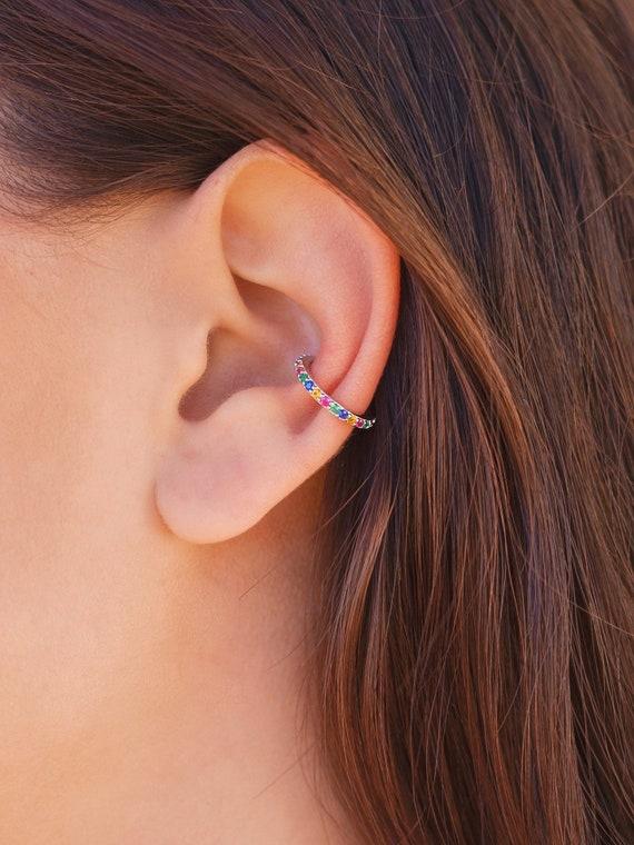 Bohemian Earrings Draping Chain Ear Cuff Earrings Set Boho Ear Cuff Rainbow Gem Earrings Gold Starfish Ear Cuff Rainbow Earrings Set