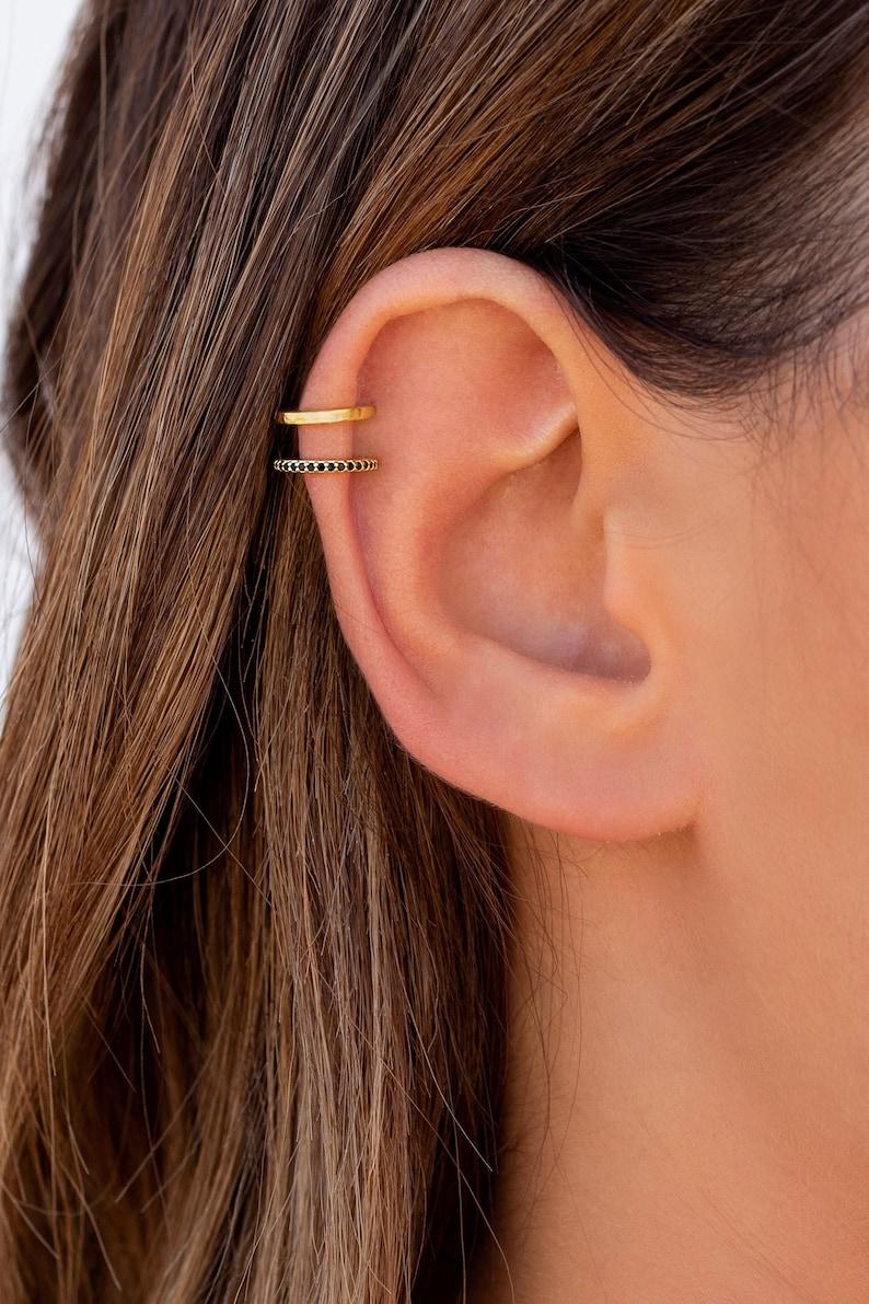 Dainty Double Band Black CZ Ear Cuff Earrings image 0