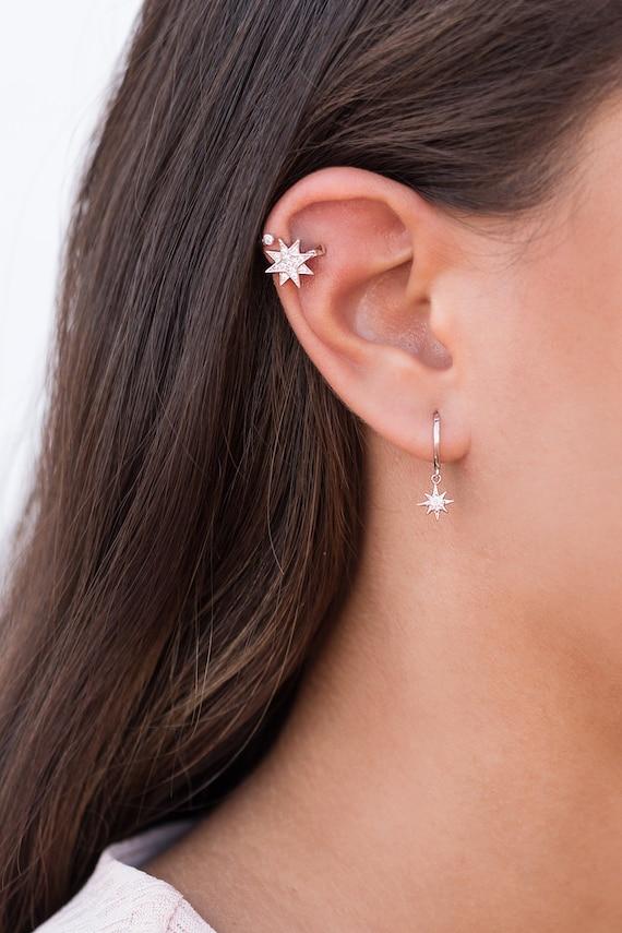 Ear Cuff Estrella 8 Puntas Ear Cuff Con Circonitas Cz Ear Etsy