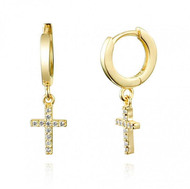 Dainty Cross-shaped Pave Cubic Zirconia Pendant Huggie Hoop Earrings