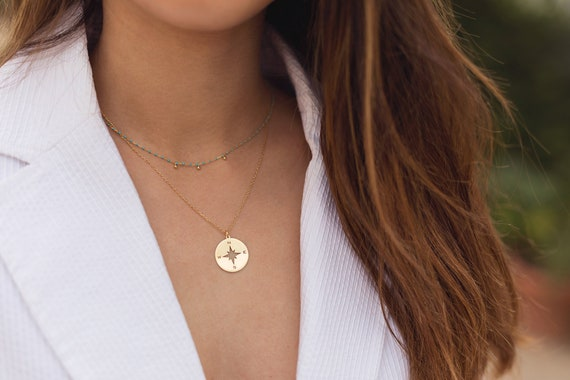 Pendant Necklace Wind Rose Coin Necklace Minimalist Necklace Minimalist jewelry Compass Gold Necklace Compass Silver Compass Necklace