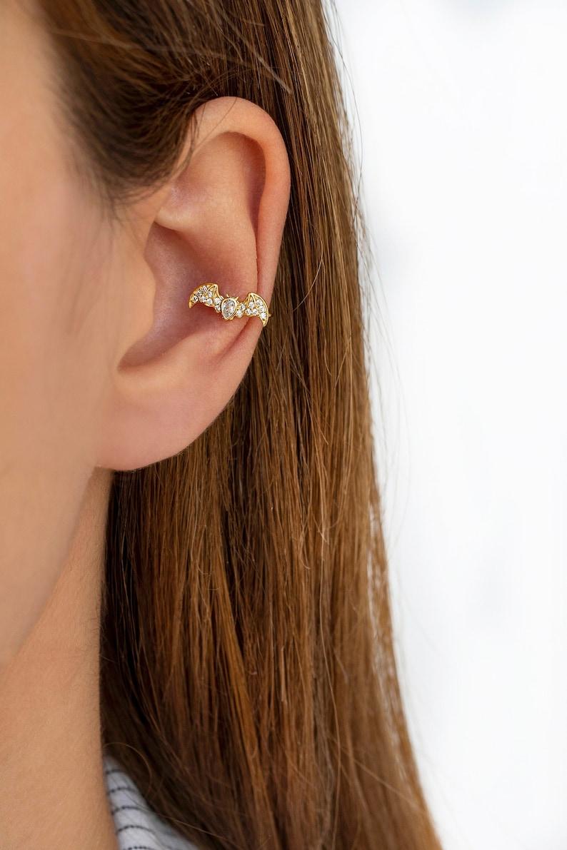 Dainty CZ Bat Shaped Conch Ear Cuff Earrings