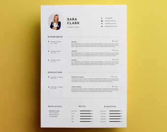 One page resume etsy modern resume template cover letter icon set for microsoft word one page resume altavistaventures Gallery