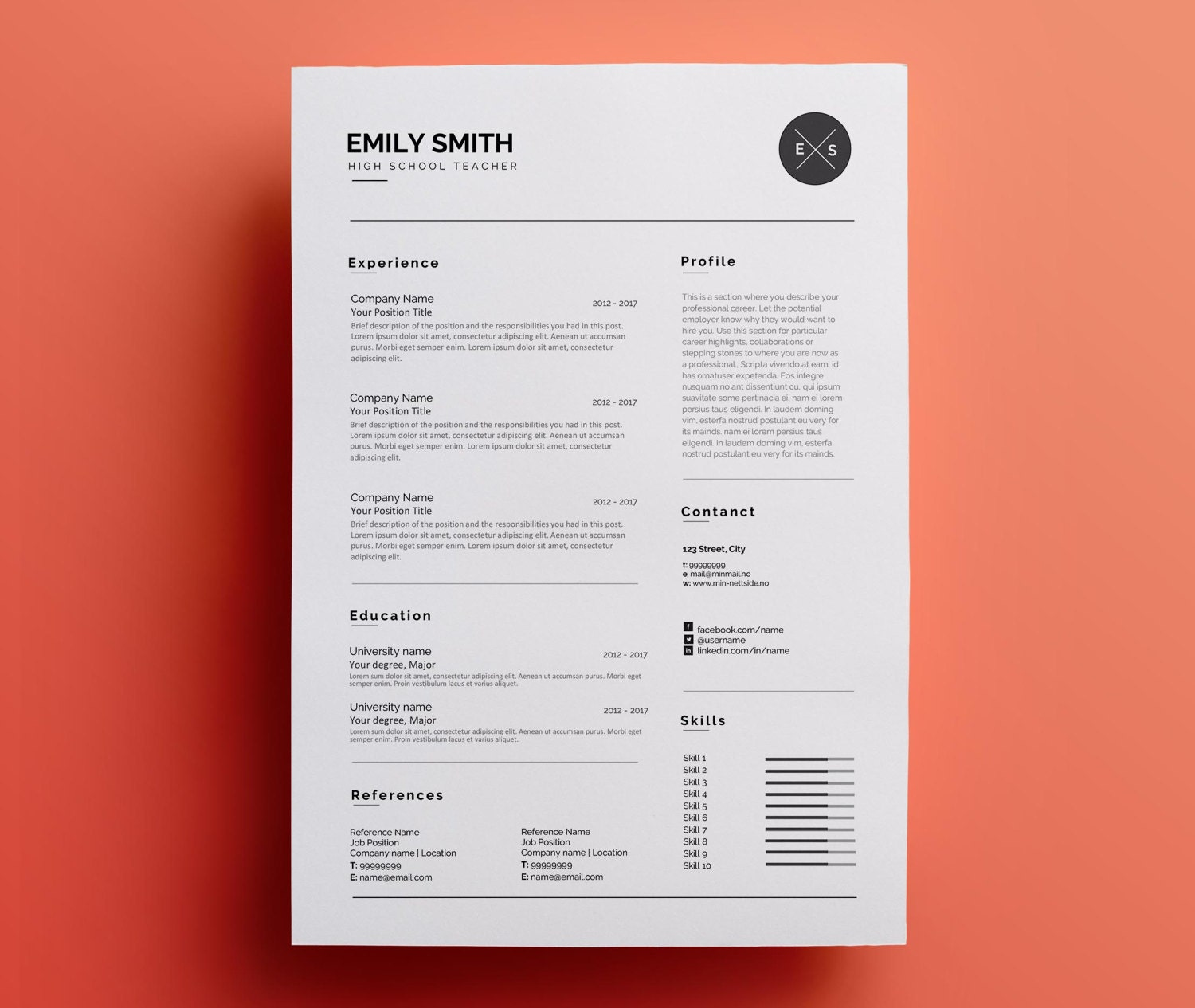 Professional Resume Template For Word Cv Template Teacher