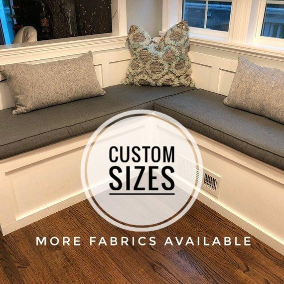 2 Custom Size Sunbrella Banquette Cushions   Bench Cushions   Dining  Cushions   Seat Cushions   Kitchen Banquette Cushions Made to Order