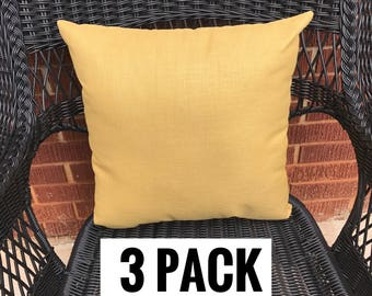 3 Pack of Sunbrella Canvas Wheat Pillow Water Resistant