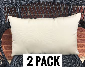2 Pack of Sunbrella Canvas Beige Throw Pillow Water Resistant