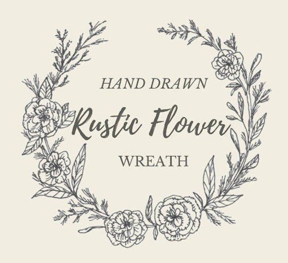 Hand Drawn Rustic Flower Wreath Line Drawing Flowers