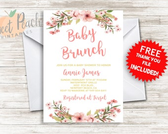 9e7b8b59511 Baby Shower Brunch Invitation 5x7 PDF Digital Personalized Invite Baby Shower  Invite Print Today  34.0