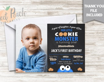 Cookie Monster 1st Birthday Invite Invitation 7x5 Digital Personalized Cookies Chalkboard Blue White A Year Of Laughter Love 501