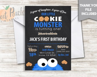 Cookie Monster Birthday Invite 5x7 Digital Personalized Invitation First 500