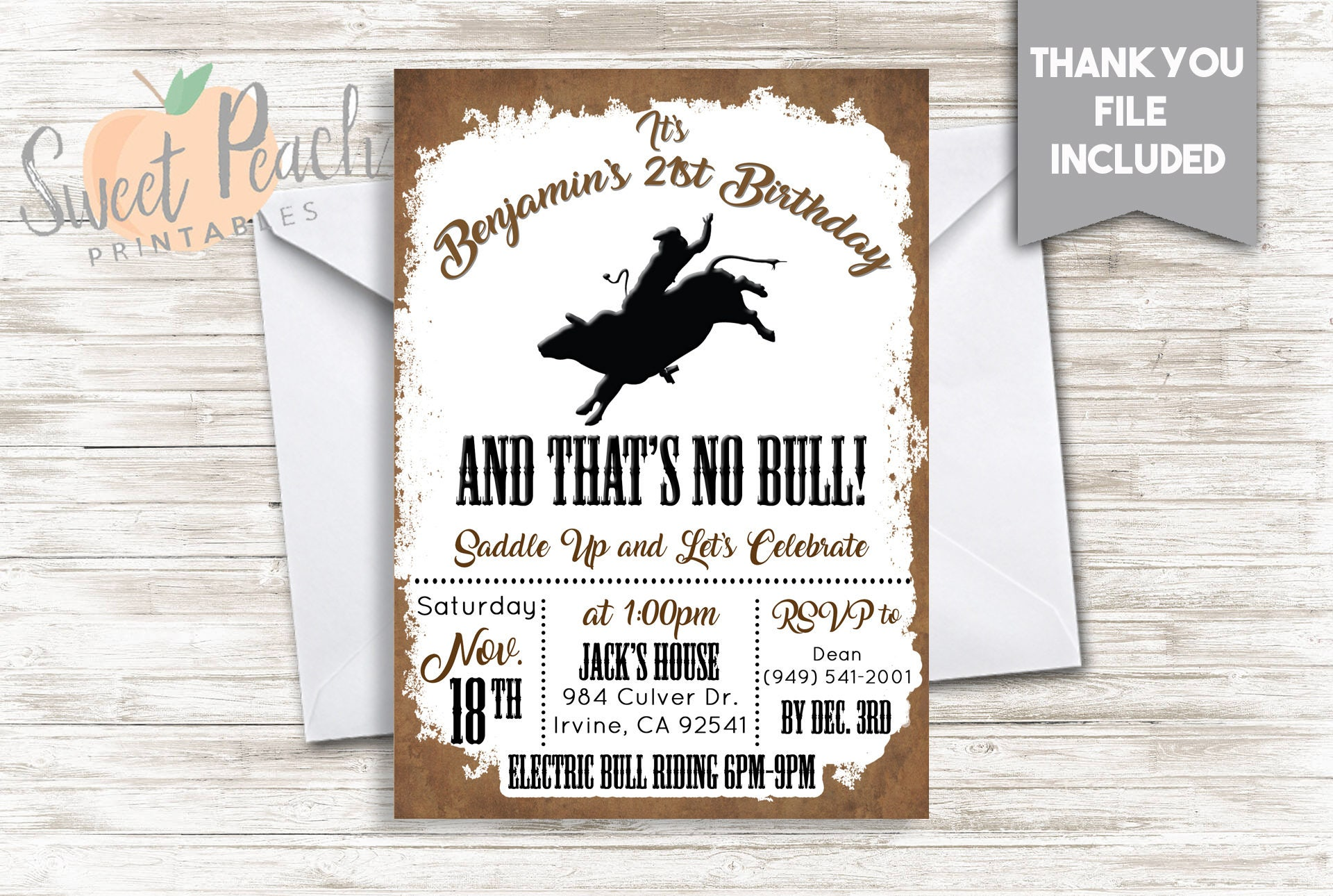 Bull Ride Birthday Invite Adult Man Woman Invitation 5x7 Digital  Personalized Electric Bull Riding Birthday Party Rodeo Cowboy Cowgirl #231