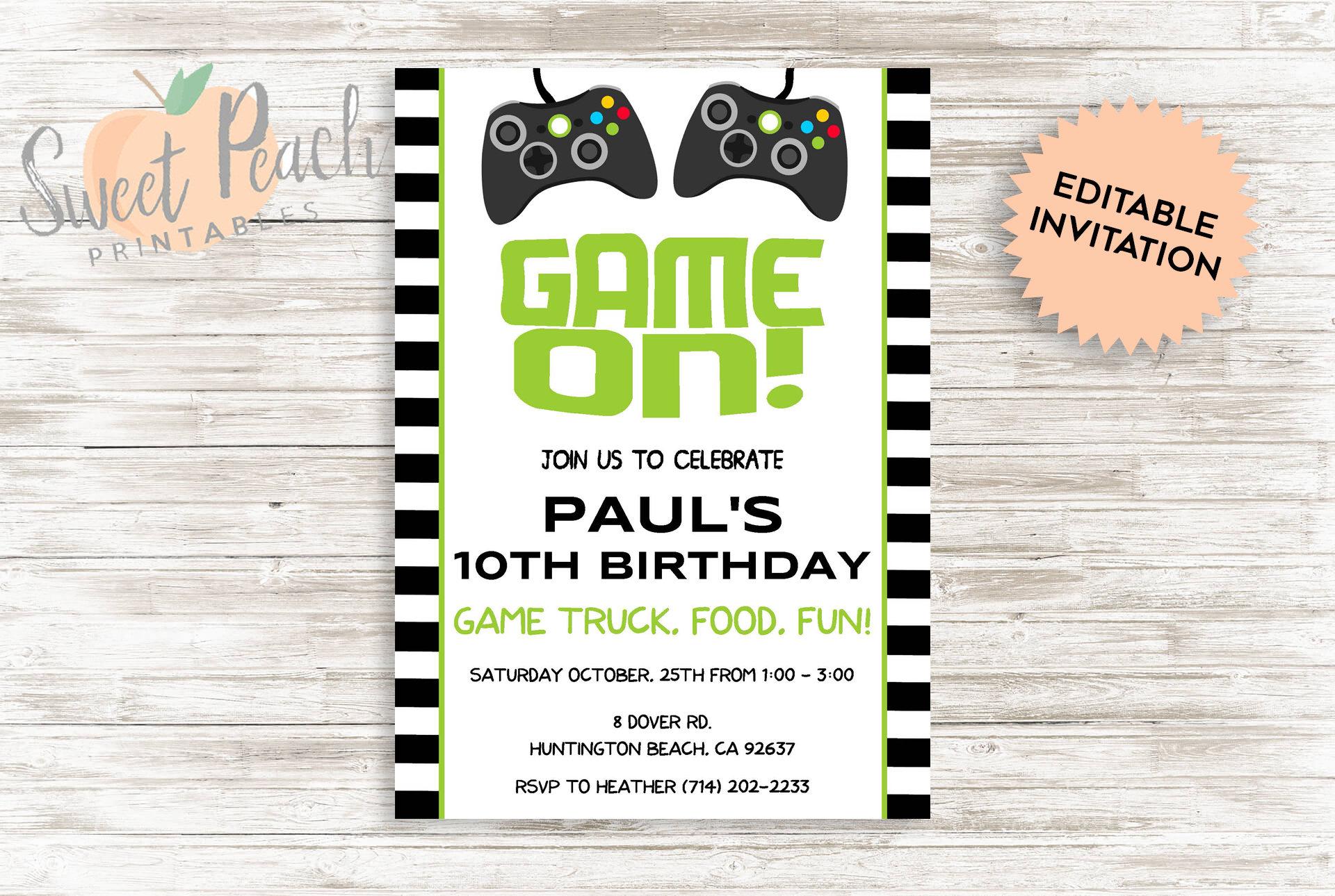 DIY Game Truck Birthday Invite DIY Personalized Birthday
