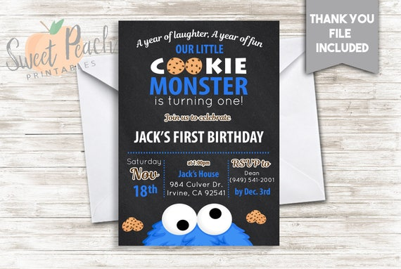 Cookie monster birthday invite 5x7 digital personalized cookie etsy image 0 filmwisefo