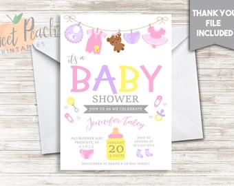 Baby Shower Invite Girl Invitation Sprinkle 5x7 Digital Personalized Cute Girl Baby Sprinkle Invitation, Bottle, Pacifier, Diapers, #19.0