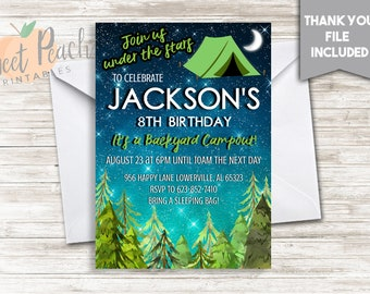 Camping Birthday Invite 5x7 Digital Backyard Camp out Stars Any Age Gender Neutral Under The Stars #246