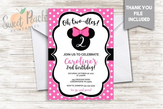 Pink Minnie Mouse 2nd Birthday Invitation 5x7 Digital