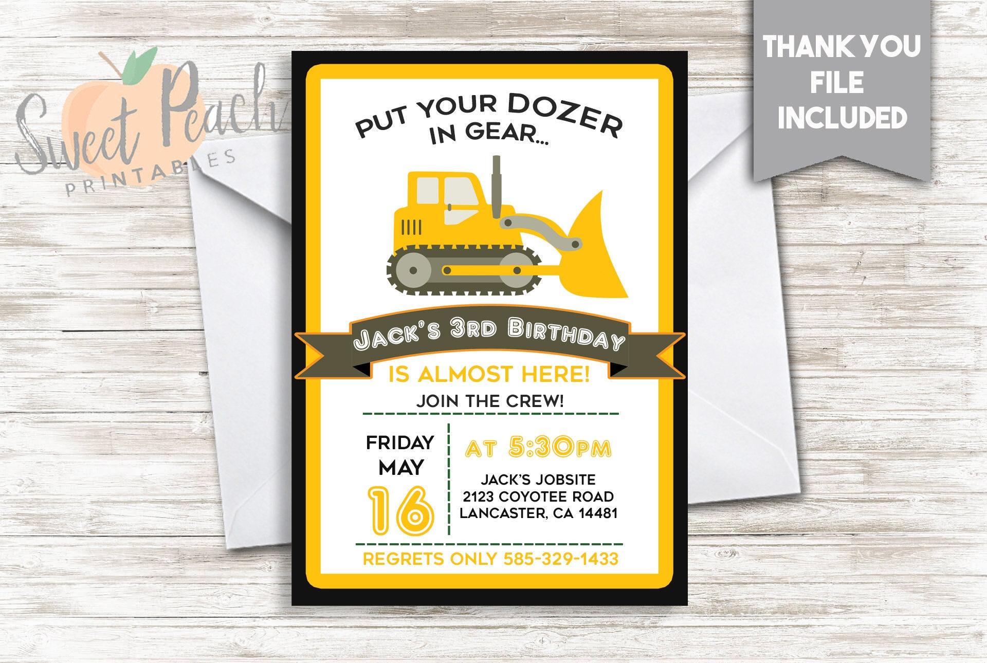 Bulldozer Birthday Invitation Boy\'s Invite 5x7 Digital | Etsy